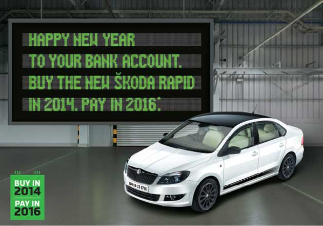 skoda rapid buy in 2014 pay in 2016 discount campaign. Black Bedroom Furniture Sets. Home Design Ideas