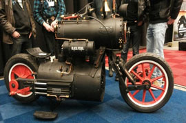 A motor cycle that derives its power over steam, can you beat that